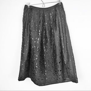 TALBOTS 100% SILK LASER CUT OUT MIDI LENGTH SKIRT